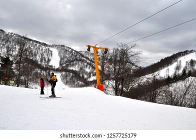 January 24, 2012- Kocaeli, Turkey. People skiing in Kartepe .