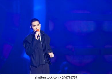 January 24 2015, Taipei Taiwan - ASUS year end party. Singer Jam Hsiao performs on stage.
