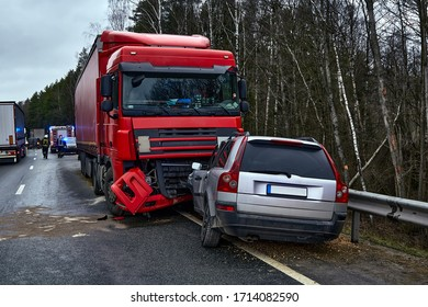 January 24, 2020, Sauriesi, Latvia: car after a collision with a heavy truck, transportation background