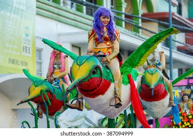 January 24th 2016. Iloilo, Philippines. Festival Dinagyang. Unidentified people on parade in carnival costumes.