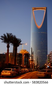 January 25, 2017 - Riyadh, Saudi Arabia: Kingdom Center or Burj Al Mamlaka glows orange at sundown.  It has mall stores, offices and other establishments like hotel and restaurants.