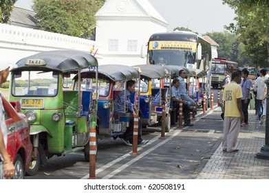 January 25, 2017 Tuk tuk cars on the road in Bangkok Thailand