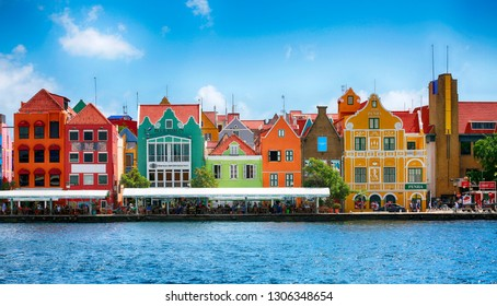 January 25, 2019, Willemstad, Curacao. Colorful buildings of downtown, landmark