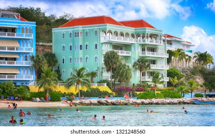 January 25, 2019, Willemstad, Curacao. Modern Resort and private beach on Caribbean sea