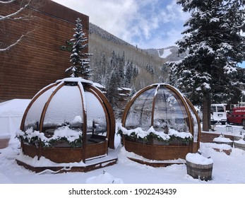 January 25, 2021 - Telluride, Colorado: Bubble covid safe tents view where people can eat in groups in Telluride, Colorado