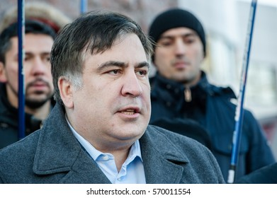 January 26, 2017. Kyiv, Ukraine. Ukrainian and former Georgian politician Mikheil Saakashvili during the protest action under the Kyiv court of appel.