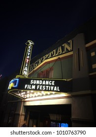 January 26, 2018-Park City utah: Egyptian theater which is one of many theaters in park city showing Sundance film festival movies.
