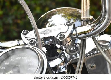January 26, 2019. The logo on handle of The Harley-Davidson motorcycle in Bangkok, Thailand.