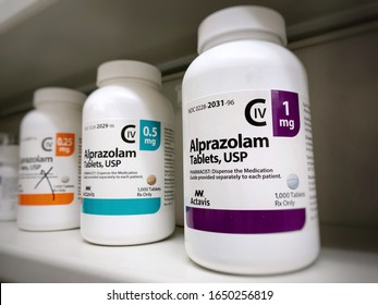 January 26, 2020-Ogden Utah USA: alprazolam bottle on shelf. Alaprazolam also known as Xanax is a drug which is a benzodiazepine and is well known for its street value and addiction potential.