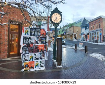 January 26,2018:Park City Utah- bulletin board with Sundance movie posters outside on the streets of Main Street park city. Sundance film festival is a popular attraction in park city