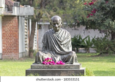JANUARY 27, 2014, AHMEDABAD, GUJARAT, INDIA - Mahatma Gandhis monument in Sabarmati Ashram. Sabarmati Ashram is the spiritual center founded by Mahatma Gandhi in 1917, headquater of freebom fighting