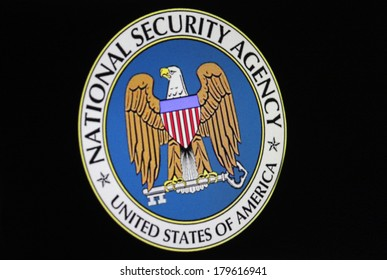 """JANUARY 27, 2014 - BERLIN the logo/ embleme of the US American secret service """"NSA - National Security Administration""""."""