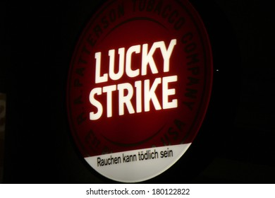"JANUARY 27, 2014 - BERLIN: the logo of the brand ""Lucky Strike"", Berlin."