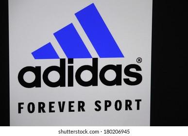 "JANUARY 27, 2014 - BERLIN: the logo of the brand ""Adidas""."
