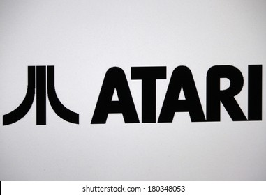 "JANUARY 27, 2014 - BERLIN: the logo of the brand ""Atari""."