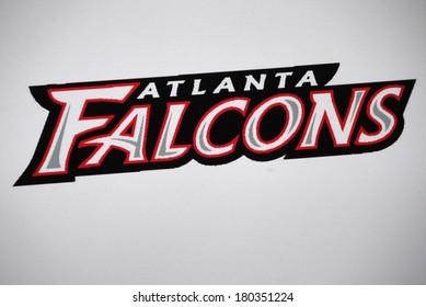 """JANUARY 27, 2014 - BERLIN: the logo of the brand """"Atlanta Falcons""""."""
