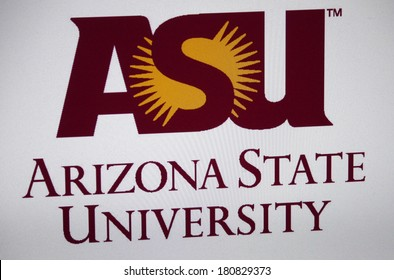 "JANUARY 27, 2014 - BERLIN: the logo of the ""Arizona State University""."