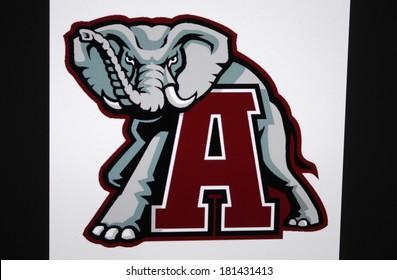 "JANUARY 27, 2014 - BERLIN: the logo of the brand ""Alabama Crimson Tide""."