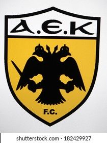 "JANUARY 27, 2014 - BERLIN: the logo of the brand ""AEK Athen""."