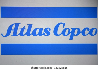 "JANUARY 27, 2014 - BERLIN: the logo of the brand ""Atlas Copco""."
