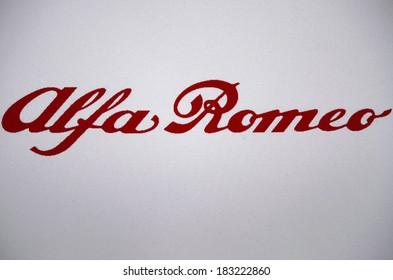 "JANUARY 27, 2014 - BERLIN: the logo of the brand ""Alfa Romeo""."