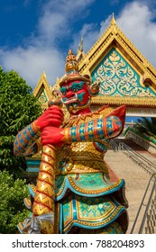 January 27, 2016 Phuket Town Phuket Thailand Colourful demon, a temple guardian, at Wat Khao Rang