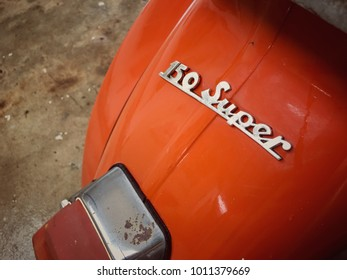 January 27, 2018, Phitsanulok, Thailand. - vespa logo model 150 super. classic vintage motorcycle scooter.