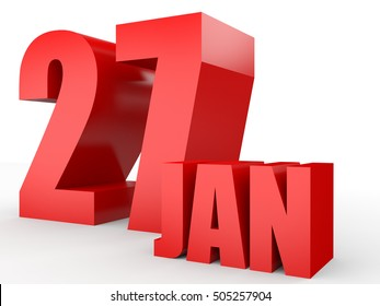 January 27. Text on white background. 3d illustration.