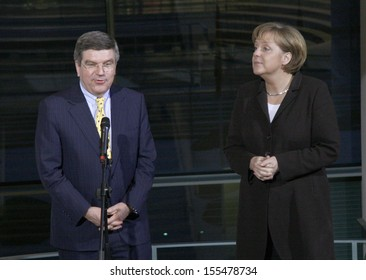 JANUARY 28, 2008 - BERLIN: Thomas Bach, Chancellor Angela Merkel at the award ceremony for the IOC Trophy in the Chanclery in Berlin.