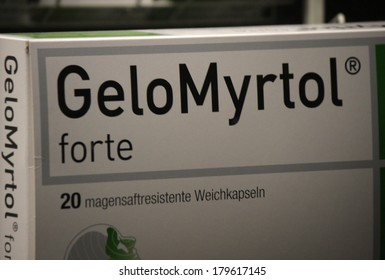 "JANUARY 28, 2014 - BERLIN: the logo of the brand ""Gelo Myrtol"", Berlin."