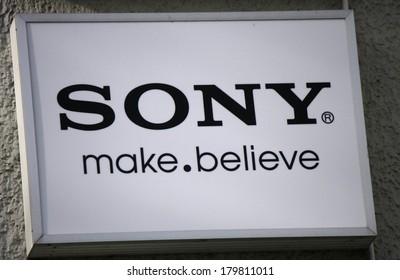 "JANUARY 28, 2014 - BERLIN: the logo of the brand ""Sony"", Berlin."