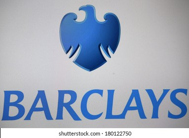 """JANUARY 28, 2014 - BERLIN: the logo of the brand """"Barclays""""."""