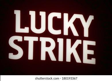"JANUARY 28, 2014 - BERLIN: the logo of the brand ""Lucky Strike"", Berlin."
