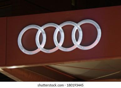 "JANUARY 28, 2014 - BERLIN: the logo of the brand ""Audi"", Berlin."
