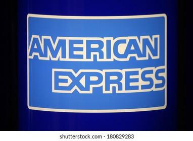 "JANUARY 28, 2014 - BERLIN: the logo of the brand ""American Express, Berlin."