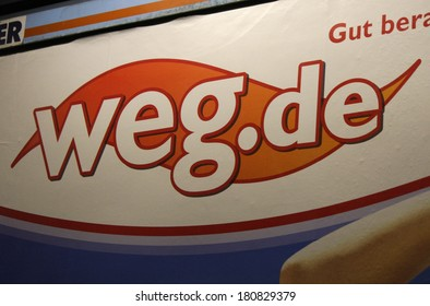 "JANUARY 28, 2014 - BERLIN: the logo of the brand ""weg.de, Berlin."