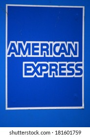 "JANUARY 28, 2014 - BERLIN: the logo of the brand ""American Express"", Berlin."
