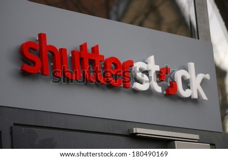 "JANUARY 28, 2014 - BERLIN: the logo of the brand ""Shutterstock"", Berlin."