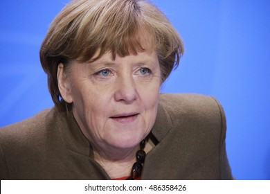 JANUARY 28, 2016 - BERLIN: German Chancelor Angela Merkel at a press conference in the federal Chanclery.