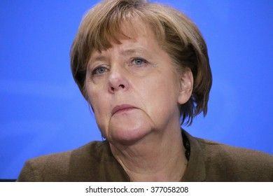 JANUARY 28, 2016 - BERLIN, GERMANY: German Chancelor Angela Merkel at a press conference in the Federal Chanclery.