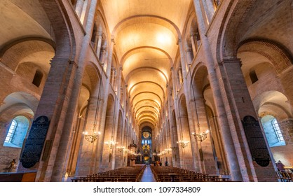 January 28, 2018: Interior of Saint Sernin basilica in Toulouse in Occitania, France