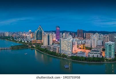 January 28, 2021:Night view of the city around Bailuzhou Park in Xiamen, China