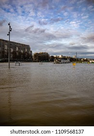 January 28th, 2018 - Paris, France : Seine banks disappeared during the flood in Paris, France.