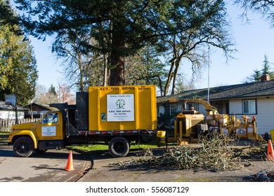 January 3, 2017. Eugene, Oregon, USA. Heavy equipment from a tree service company used in cleaning up after a wind storm.