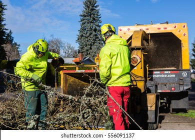 January 3, 2017. Eugene, Oregon, USA. Tree service workers clean up debris left over after a northwest ice storm.