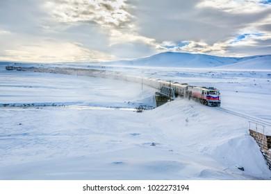 January 30, 2018, Kars, Turkey, Ankara-Kars (Diesel Train) Eastern Express train wagons details, Turkey