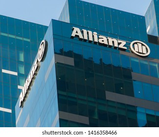 January 30, 2018 - Singapore. Allianz Regional Headquarters building in the financial district of Singapore.