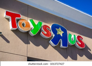 January 30, 2018 Sunnyvale / CA / USA - Toys R Us logo above the entrance to one of the stores in San Francisco bay area