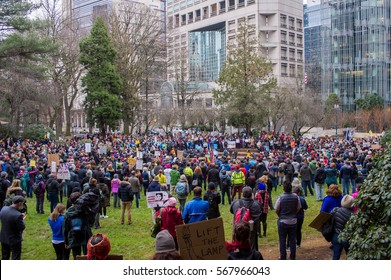 "January 30th, 2017: ""No Ban, No Wall"" protest in Chapman Square in downtown Portland, Oregon."
