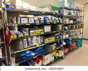 January 30th, 2019- Ottawa, Canada: A supply clean hold closet with shelves of various medical equipment and supplies at a regional hospital